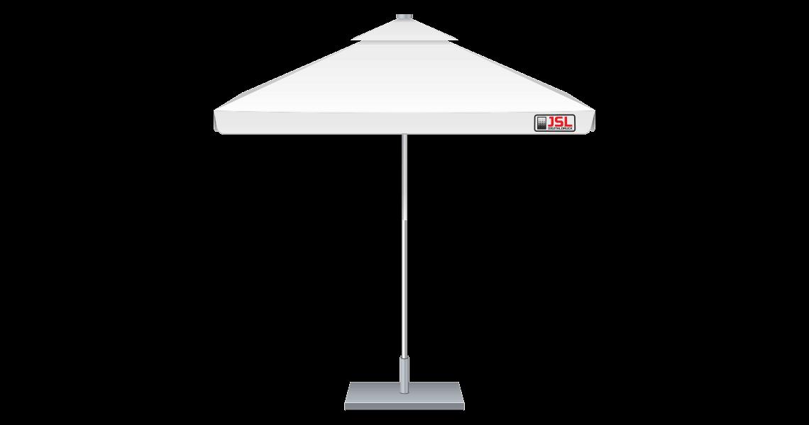 Sonnenschirme bedruckt quadratisch, mit Volant